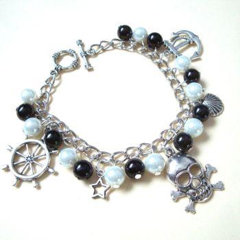 PCB046 Silver charms & pearl pirate bracelet