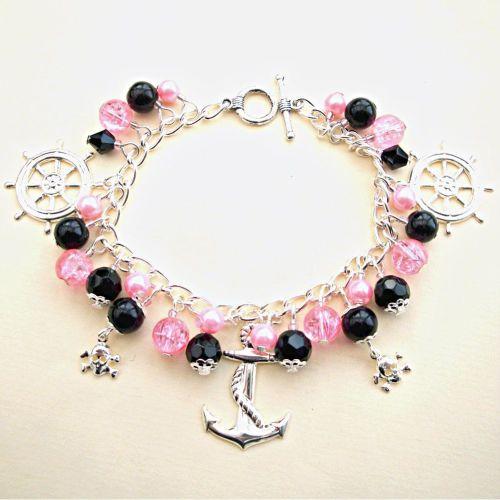 PCB030 Pretty Pirate pink & black charm bracelet