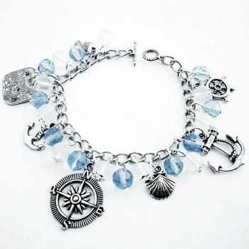 Nautical pirate charm bracelet, blue beads and silver charms PCB113