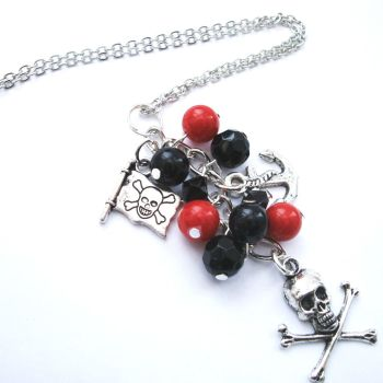 PN108 Red & Black Pirate charm necklace