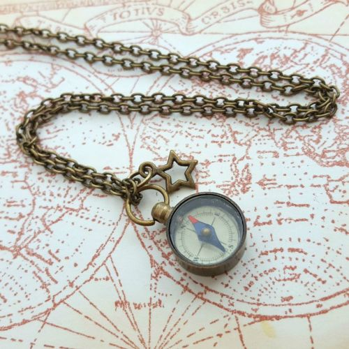 Small bronze working compass necklace PN150