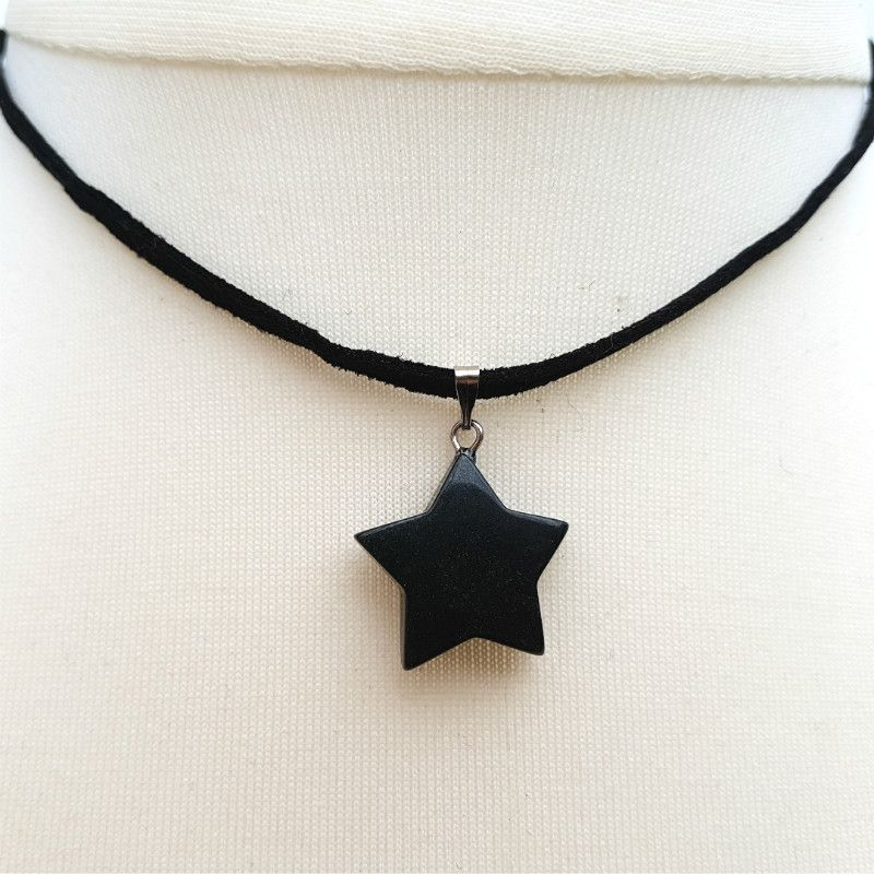Black star necklace, onyx pendant on suede choker