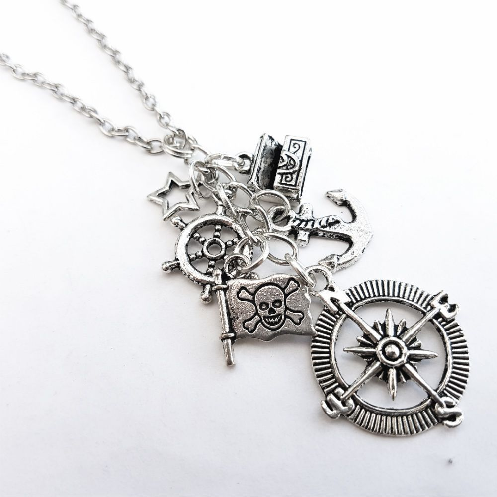 Pirate charm necklace with silver compass, anchor and treasure chest PN151