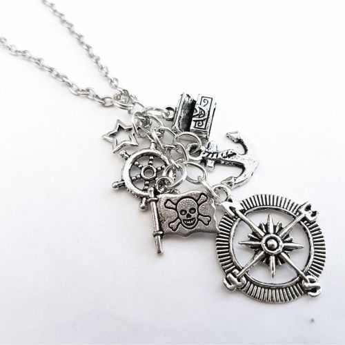 Pirate charm necklace with silver compass, anchor and treasure chest