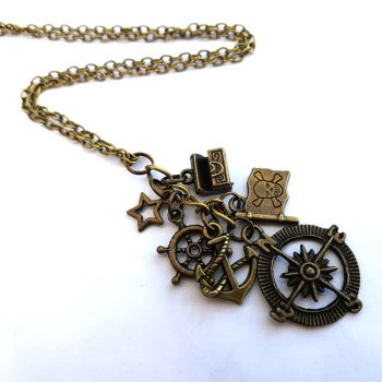 Pirate charm necklace with antique bronze compass, anchor and treasure chest PN152