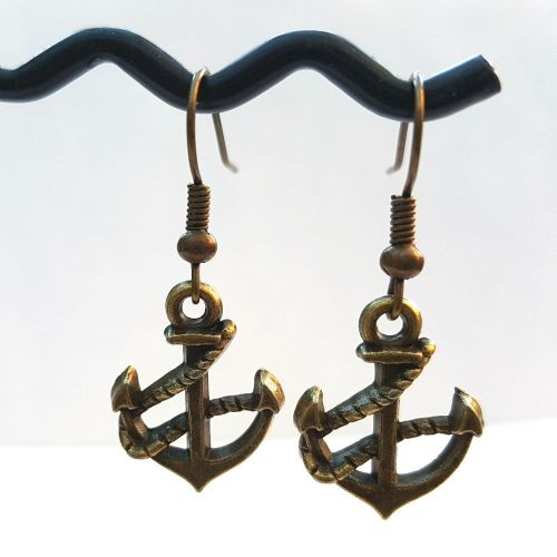 Bronze anchor earrings - pirate nautical style PE048