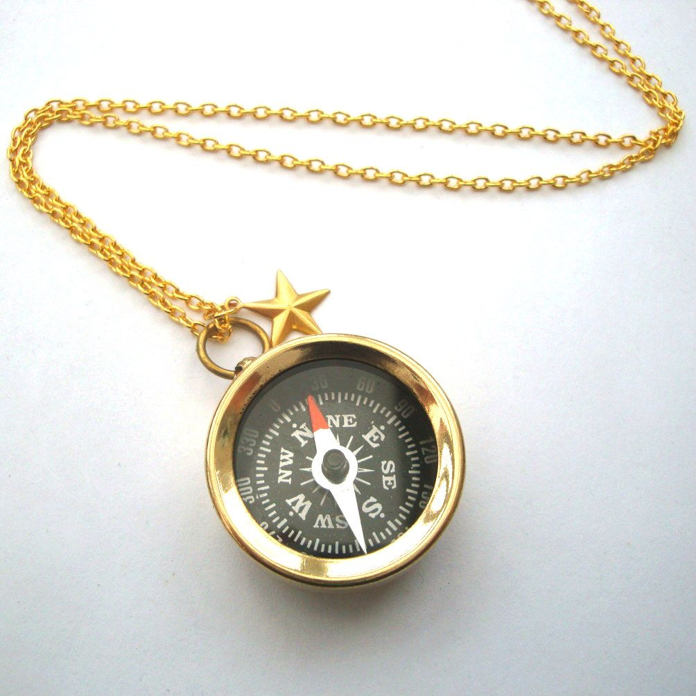 Brass compass necklace on gold chain PN145