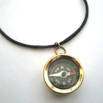 PN110 Pirate brass compass on cord necklace