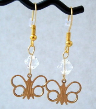 Vintage butterfly & clear bead earrings VE001
