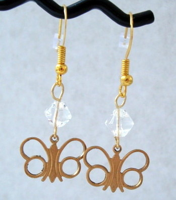 VE001 Vintage butterfly & clear bead earrings