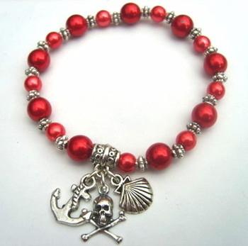 PSB007 Red pirate stretch charm bracelet