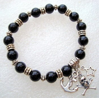 PSB008 Black pirate charm stretch bracelet