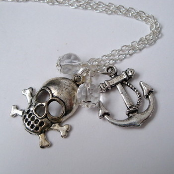 PN092 Silver charms & clear bead pirate necklace