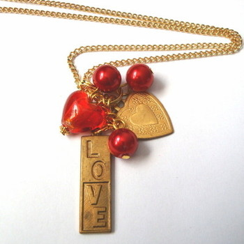 Vintage Valentine necklace with red heart and brass LOVE charm VN012