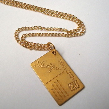 Vintage brass 'I Love You' postcard necklace VN013