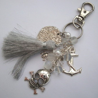 PBG028 Silver tassel & coin pirate bag charm