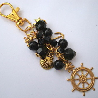 PBG032 Black & gold pirate bag charm