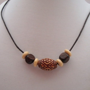 Brown wooden beads necklace men's or unisex MN004