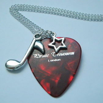 Red Pirate Treasures plectrum & music note charm necklace KN038