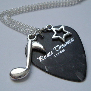 KN039 Black Pirate Treasures plectrum charm necklace