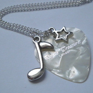 White Pirate Treasures plectrum & music note charm necklace KN040
