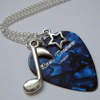 Blue Pirate Treasures plectrum, star and music note charm necklace KN041