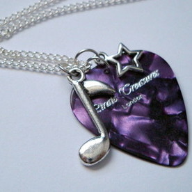 Purple Pirate Treasures plectrum, star and music note charm necklace KN042