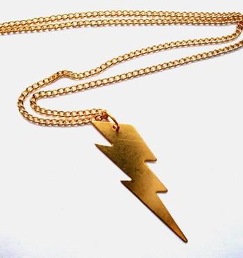 Brass lightning bolt charm necklace VN032