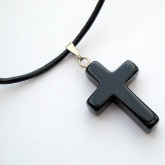 Black onyx cross on leather or cotton cord necklace MN013