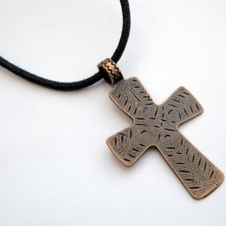 Copper cross on black cord necklace MN014