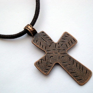 Men's copper cross on brown cord necklace MN015