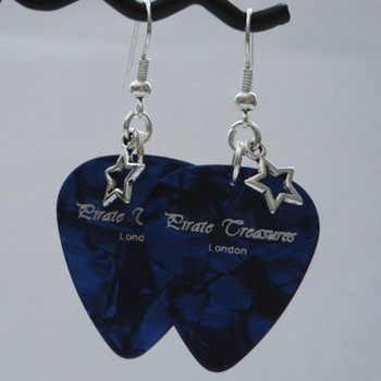 Blue Pirate Treasures plectrum and star earrings KE016