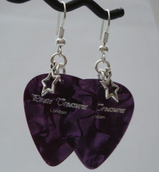 Purple Pirate Treasures plectrum and star earrings KE018