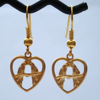 Vintage kitsch gold lovebirds earrings VE012