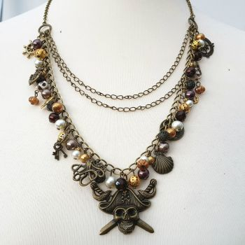 Pirate charm necklace antique bronze layered PN155
