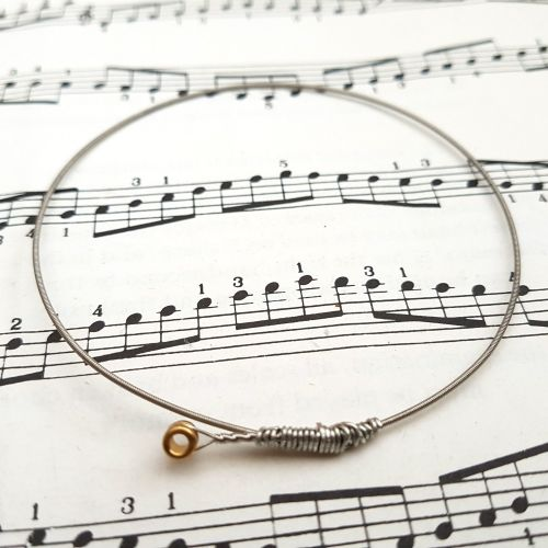 Guitar string bracelet bangle Size M (75mm diameter) CB005