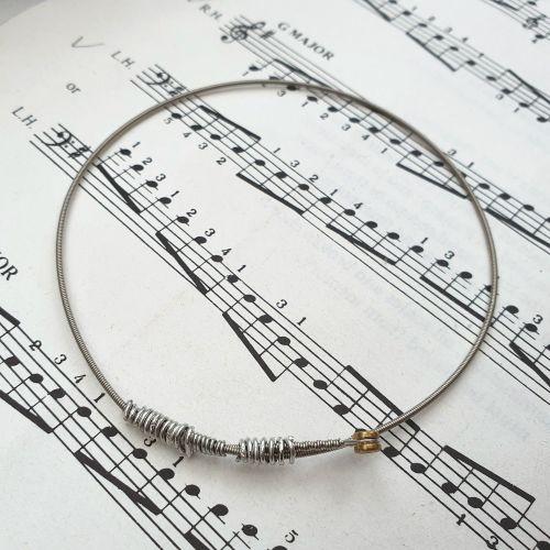 Guitar string bracelet bangle Size L (80mm diameter) CB011