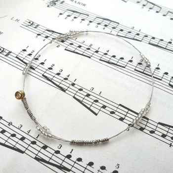 Guitar string bracelet bangle with beads Size XS (65mm diameter) CB013