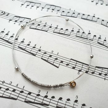 Guitar string bracelet bangle with beads Size XXS (60mm diameter) CB014