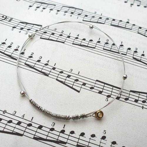 Guitar string bracelet bangle with beads Size XXS (60mm diameter) CB014