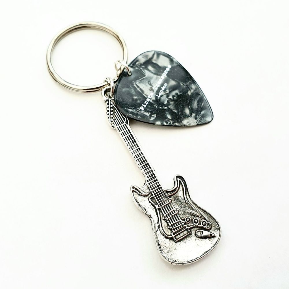 Guitar and plectrum keyring