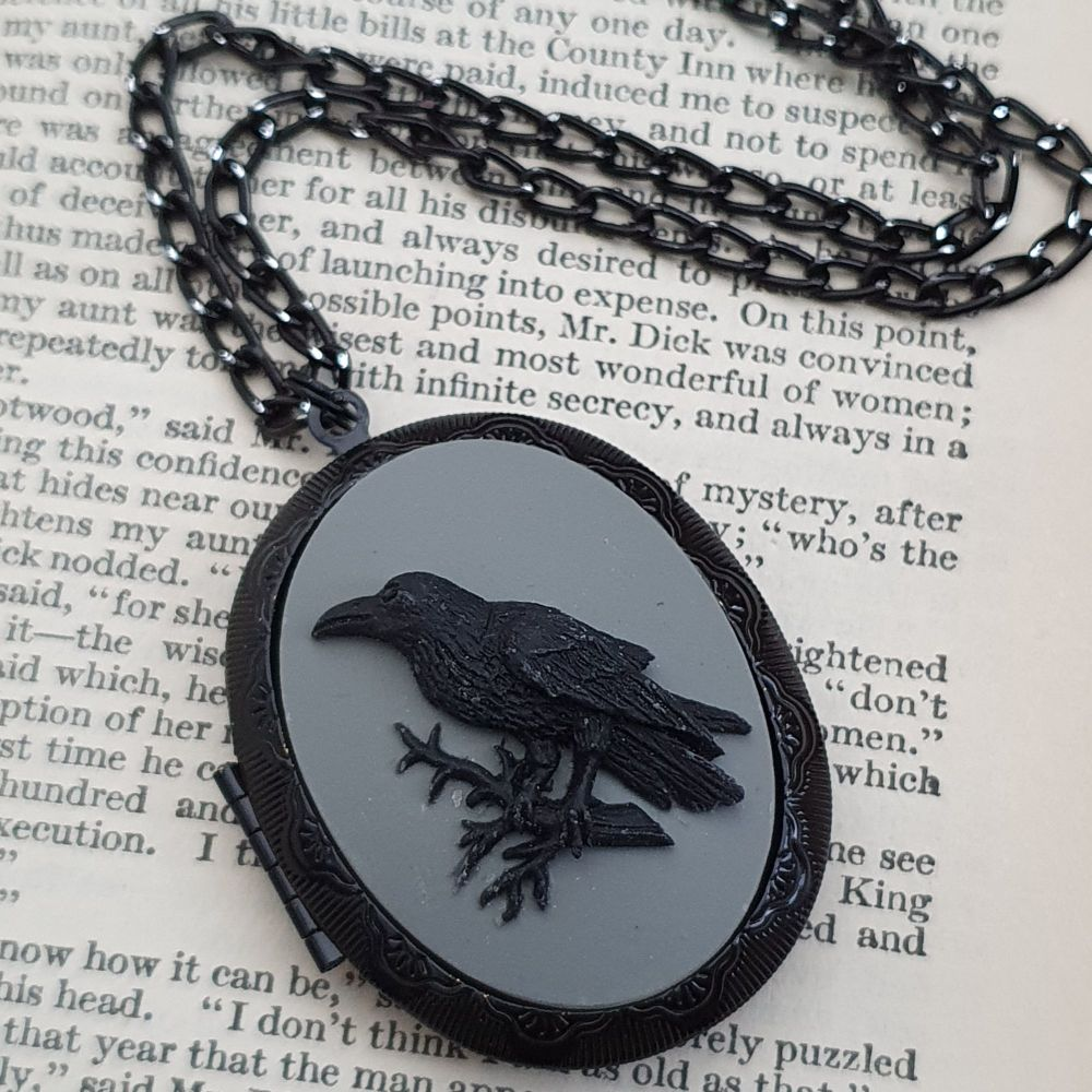 Large crow or raven cameo locket necklace on black chain