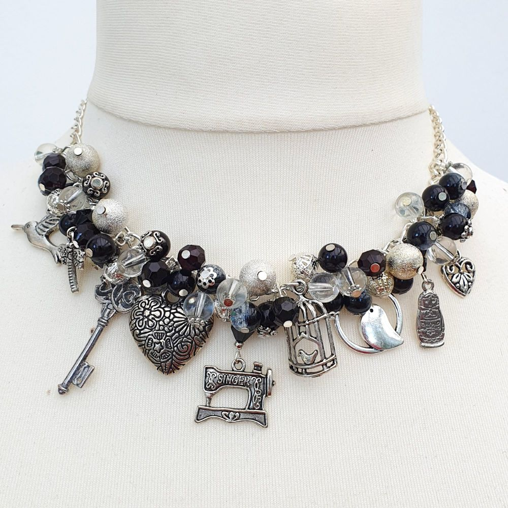 Black and silver statement charm necklace CN084