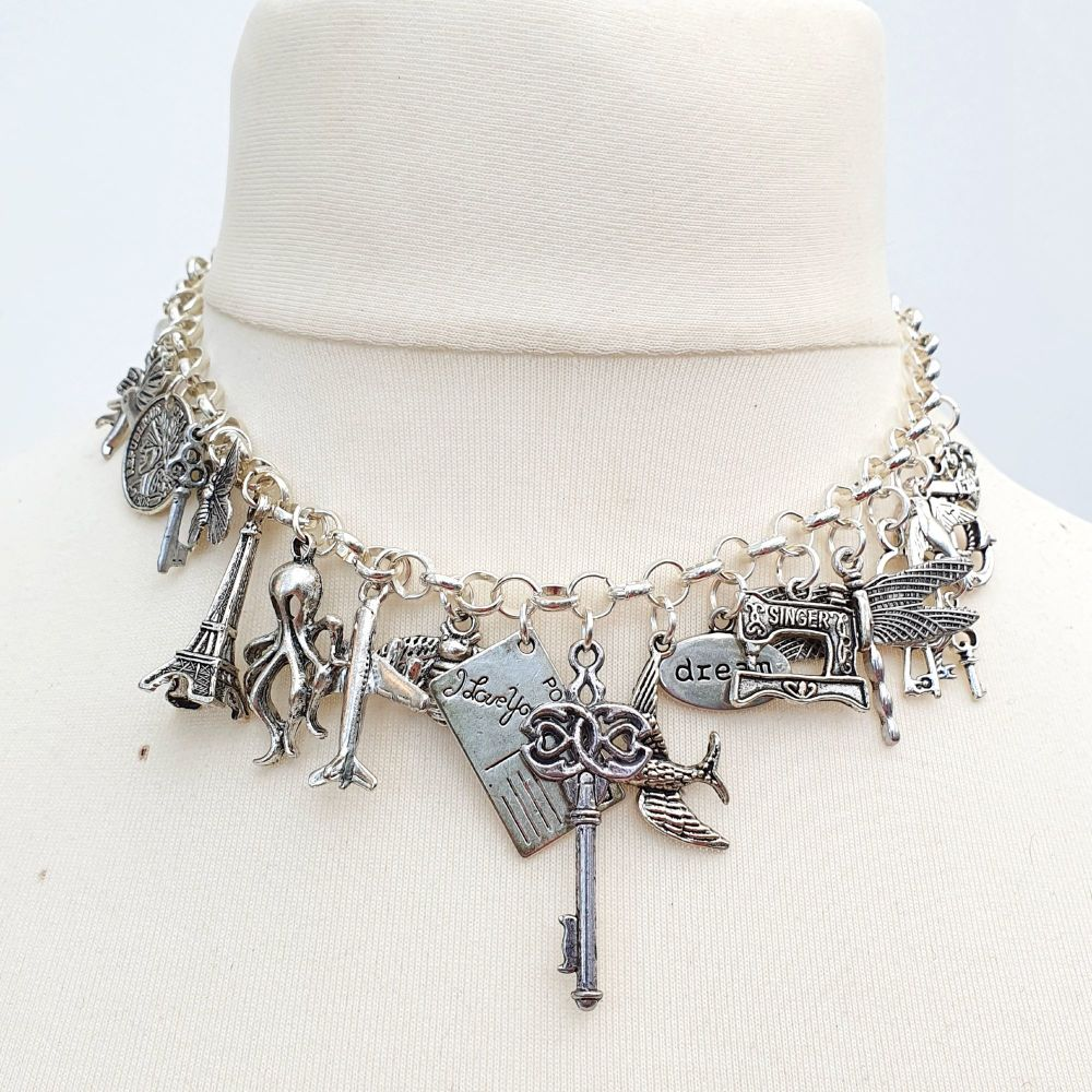 Silver statement charm necklace 21 Charms CN085