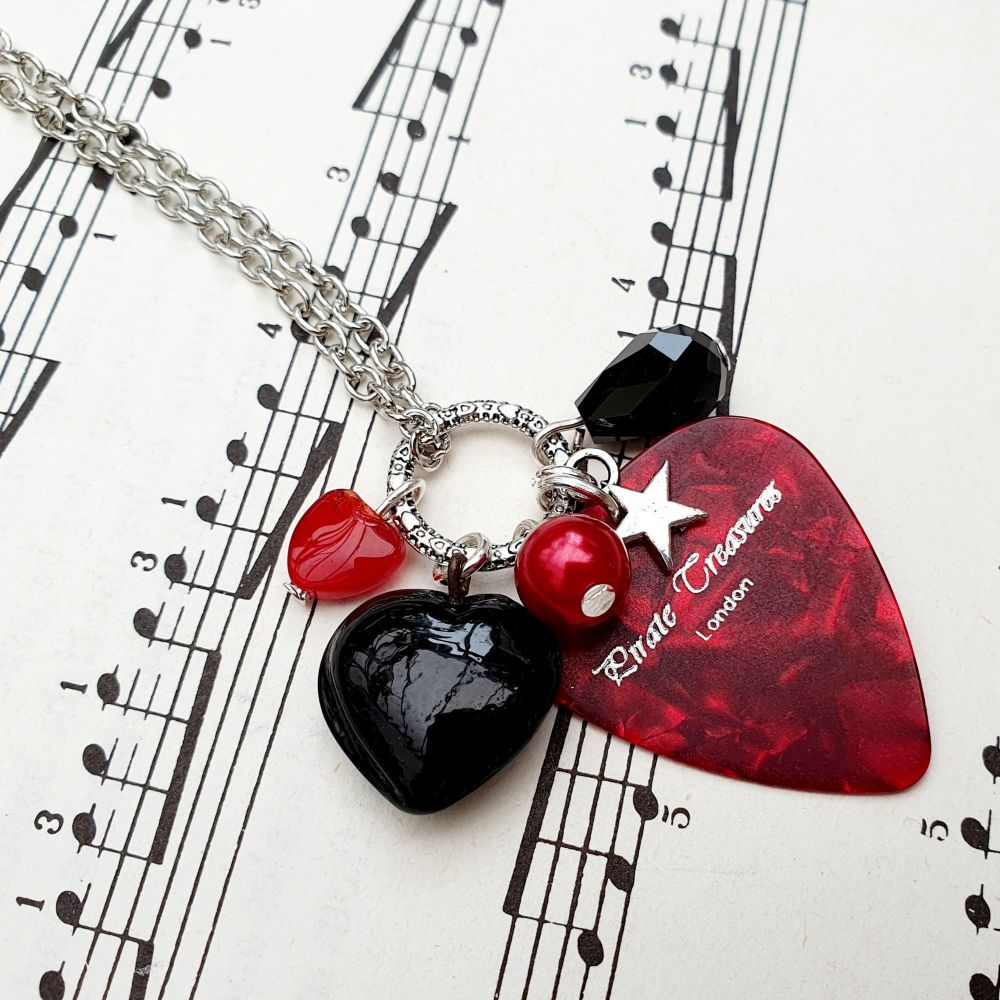 Plectrum cluster charm necklace in red and black on chain