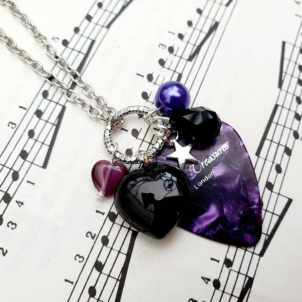 Plectrum cluster charm necklace in purple and black on chain CN106