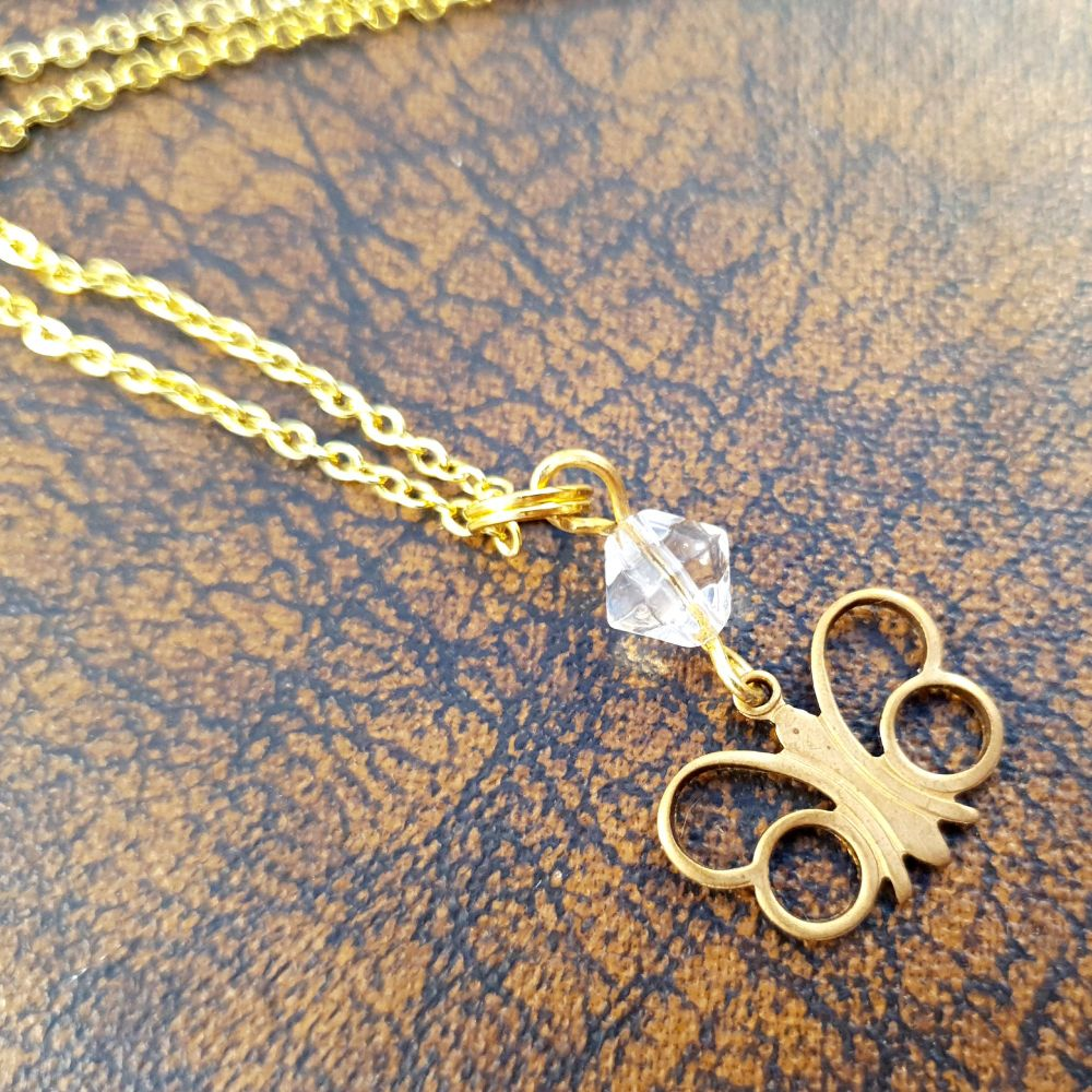 Vintage butterfly & clear bead necklace VN018