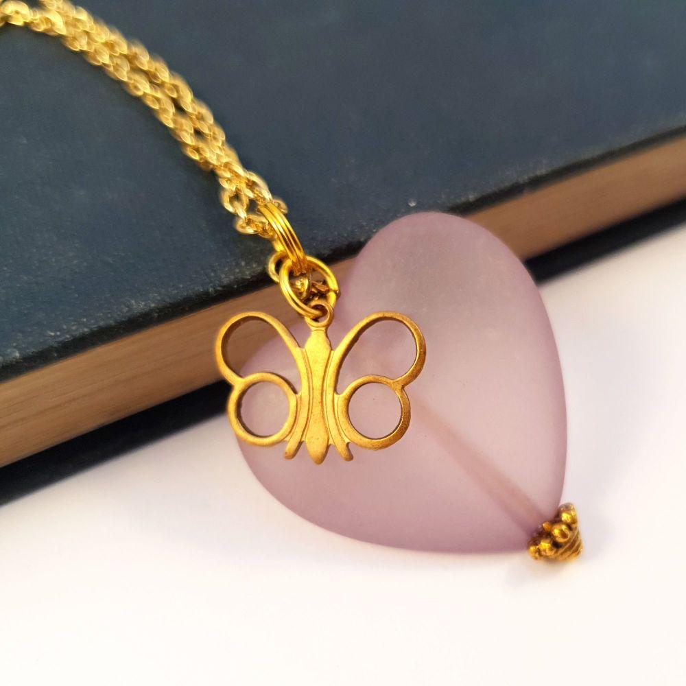 Vintage lilac heart & brass butterfly charm necklace VN016
