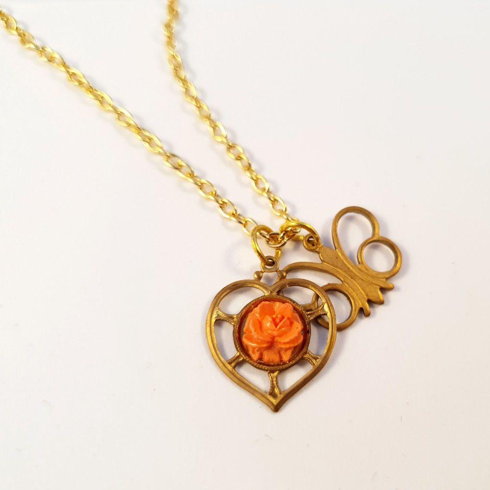 Vintage brass butterfly & rose heart charm necklace VN015