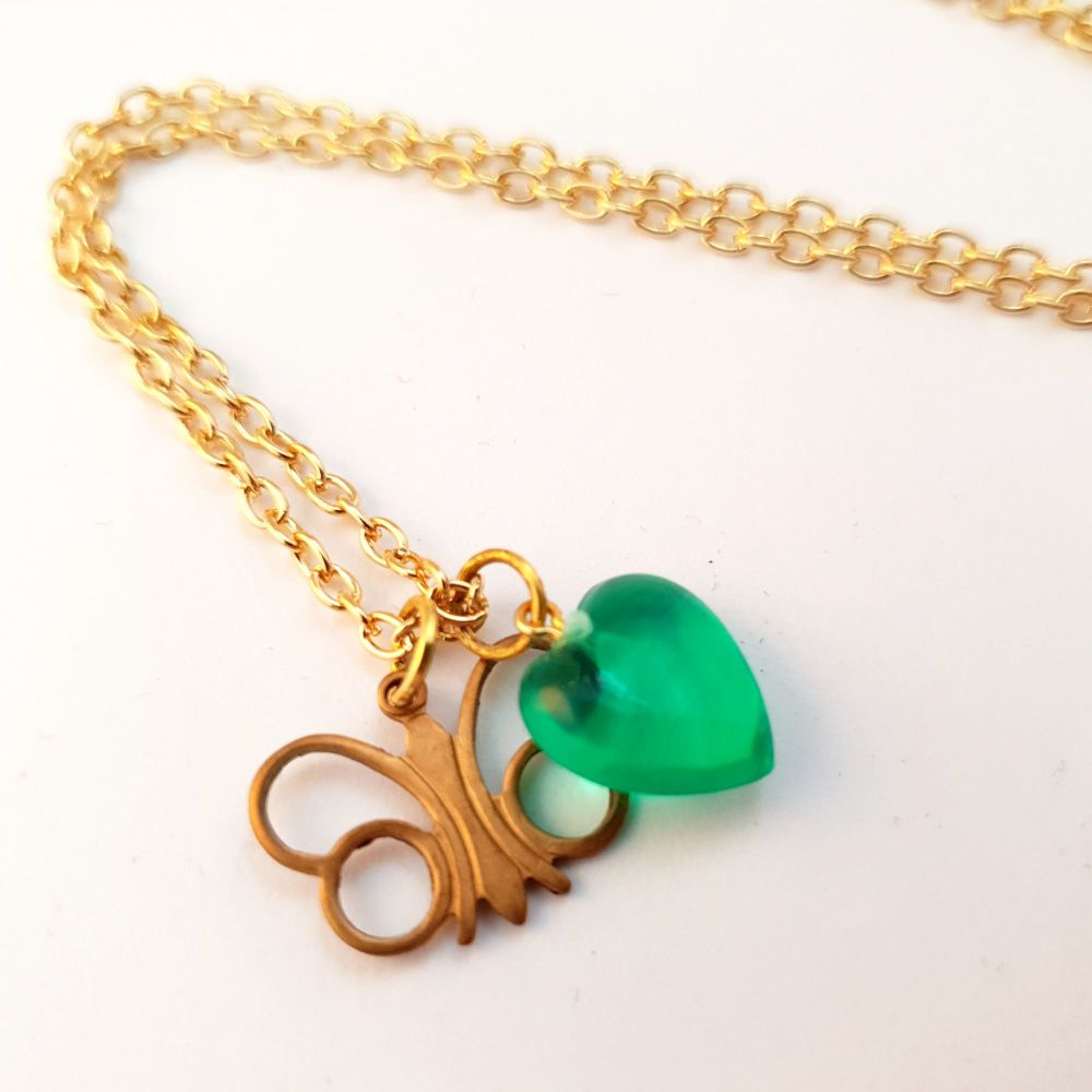 Vintage brass butterfly charm and green heart necklace VN014